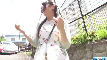 Japanese babe, Misaki Oosawa went to the nature with two guys, to have a threesome with them
